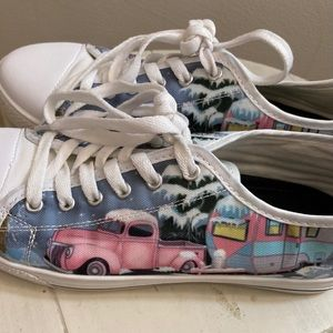 Canvas lace ups with  vintage truck/camper on it